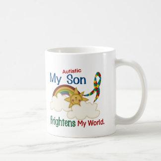 Autism BRIGHTENS MY WORLD 1 Son Basic White Mug