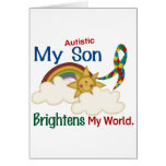 Autism BRIGHTENS MY WORLD 1 Son Greeting Cards