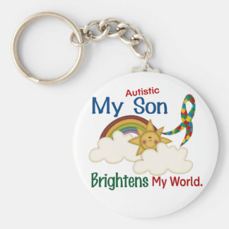 Autism BRIGHTENS MY WORLD 1 Son Basic Round Button Key Ring