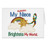 Autism BRIGHTENS MY WORLD Niece Greeting Cards