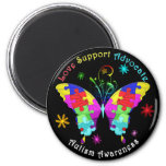 Autism Butterfly 6 Cm Round Magnet