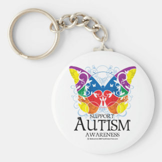Autism Butterfly Basic Round Button Key Ring