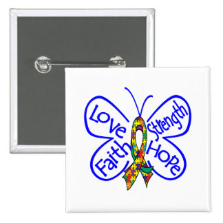 Autism Butterfly Inspiring Words 15 Cm Square Badge