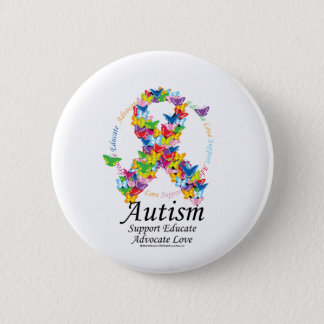 Autism Butterfly Ribbon 6 Cm Round Badge