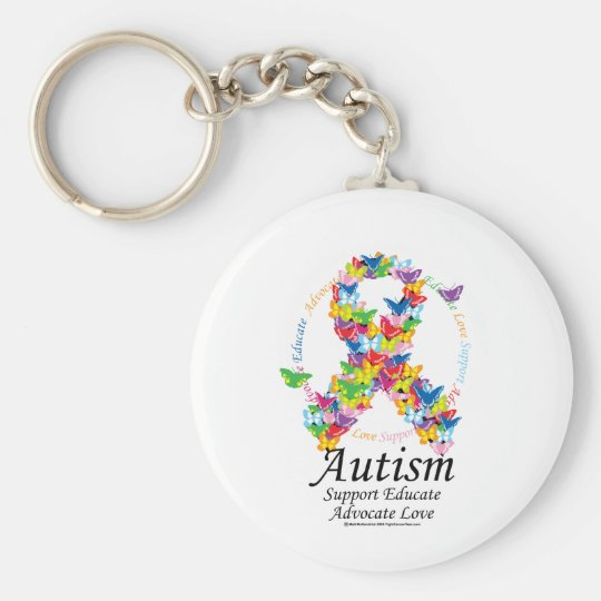 Autism Butterfly Ribbon Basic Round Button Key Ring