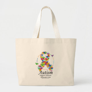 Autism Butterfly Ribbon Large Tote Bag