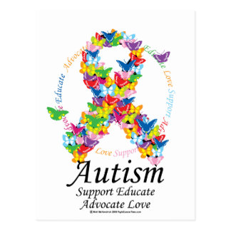 Autism Butterfly Ribbon Postcard