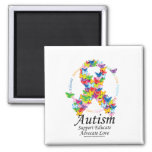 Autism Butterfly Ribbon Square Magnet