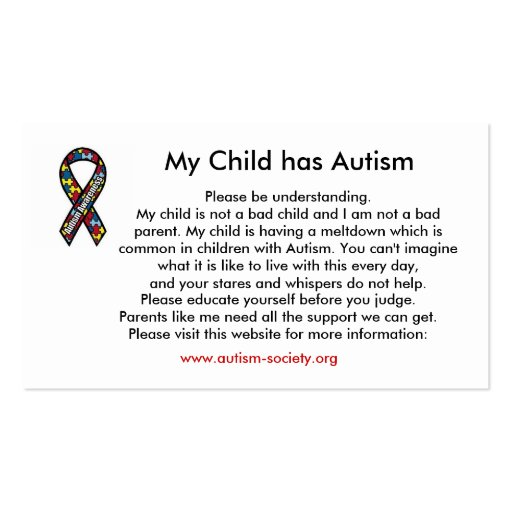 Autism cards business card templates