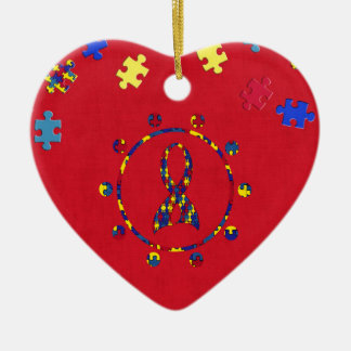 Autism Ceramic Heart Decoration