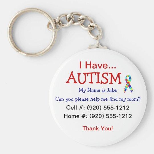 Autism Child ID Zipper Pull (Changeble Text) Key