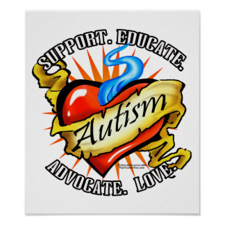 Autism Classic Heart Tattoo Posters