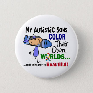 Autism COLOR THEIR OWN WORLDS Sons 6 Cm Round Badge