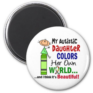 Autism COLORS HER OWN WORLD Daughter 6 Cm Round Magnet