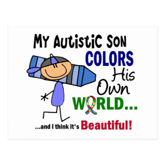 Autism COLORS HIS OWN WORLD Son Postcard