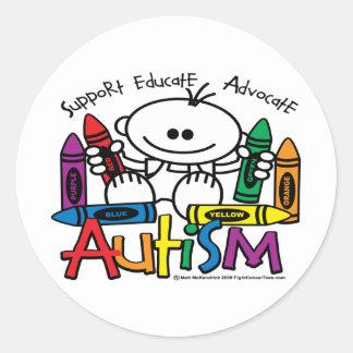 Autism Crayons Classic Round Sticker