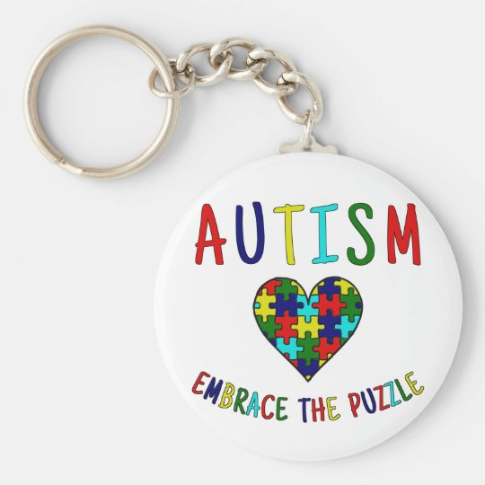 Autism Embrace The Puzzle Basic Round Button Key