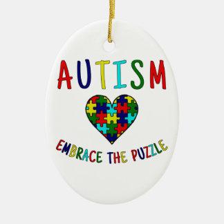 Autism Embrace The Puzzle Christmas Ornament