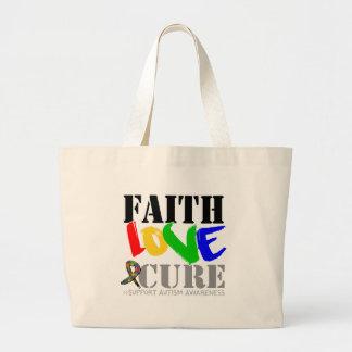 Autism Faith Love Cure Canvas Bags