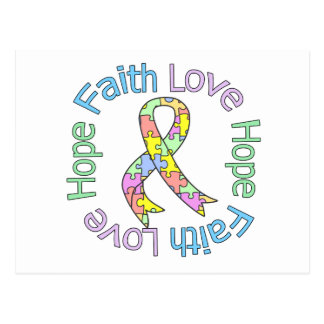 Autism Faith Love Hope Postcard