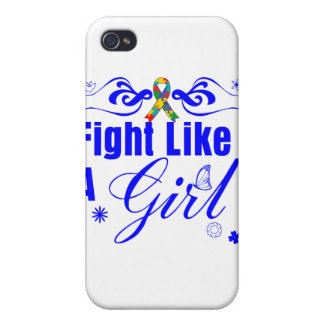Autism Fight Like A Girl Ornate iPhone 4 Covers