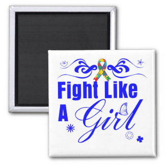 Autism Fight Like A Girl Ornate Fridge Magnets