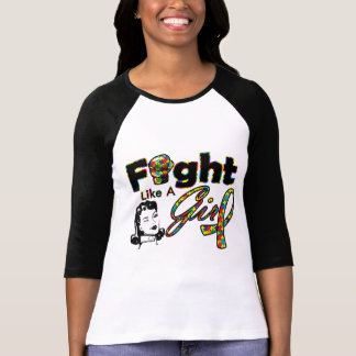 Autism Fight Like A Girl - Retro Girl T-shirts
