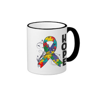 Autism Floral Hope Ribbon Ringer Mug