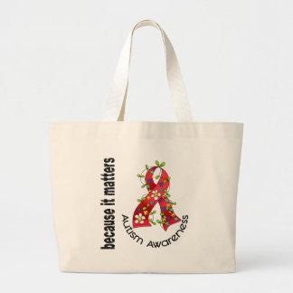 Autism Flower Ribbon 3 Jumbo Tote Bag
