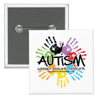 Autism Handprint 15 Cm Square Badge