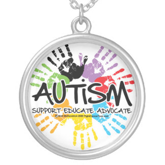 Autism Handprint Silver Plated Necklace