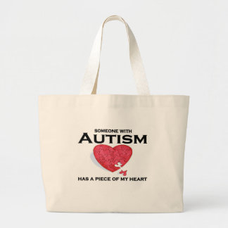 Autism has a piece of my heart large tote bag