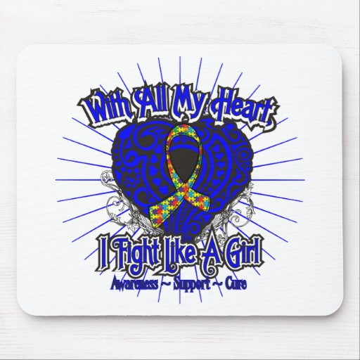 Autism Heart I Fight Like A Girl Mouse Pads