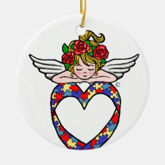 Autism Heart Ribbon Angel Christmas Ornament