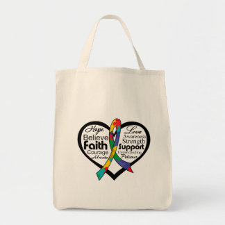 Autism Heart Ribbon Collage Grocery Tote Bag