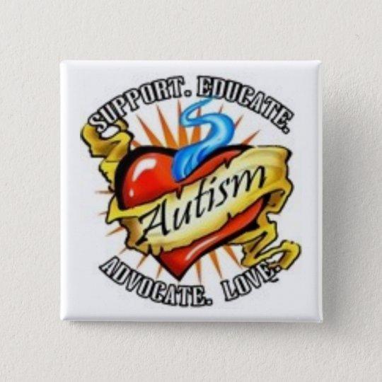 autism heart tatoo 15 cm square badge