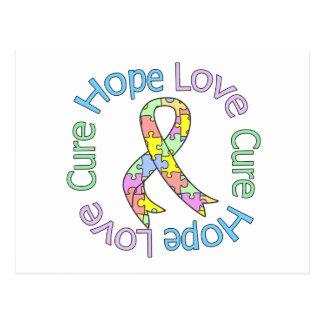 Autism Hope Love Cure Postcard
