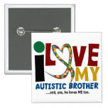AUTISM I Love My Autistic Brother 2 Pinback Buttons