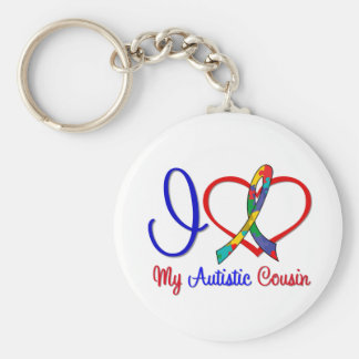 Autism I Love My Autistic Cousin Basic Round Button Key Ring