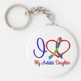 Autism I Love My Autistic Daughter Basic Round Button Key Ring