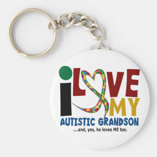 AUTISM I Love My Autistic Grandson 2 Basic Round Button Key Ring