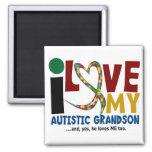 AUTISM I Love My Autistic Grandson 2 Square Magnet