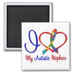 Autism I Love My Autistic Nephew Square Magnet