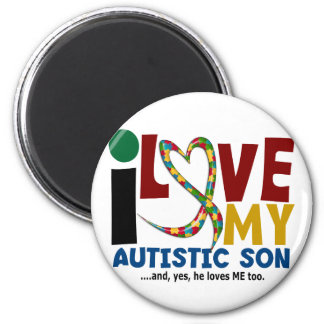 AUTISM I Love My Autistic Son 2 6 Cm Round Magnet