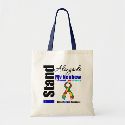 Autism I Stand Alongside My Nephew Canvas Bags