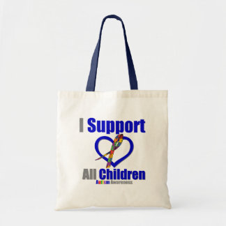Autism I Support All Children Tote Bags