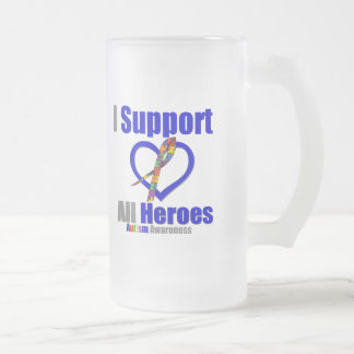 Autism I Support All Heroes Frosted Glass Mug