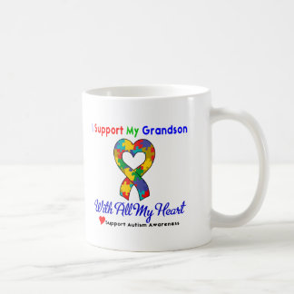 Autism: I Support My Grandson With All My Heart Basic White Mug