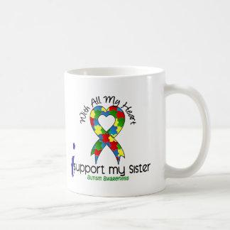 Autism I Support My Sister Basic White Mug