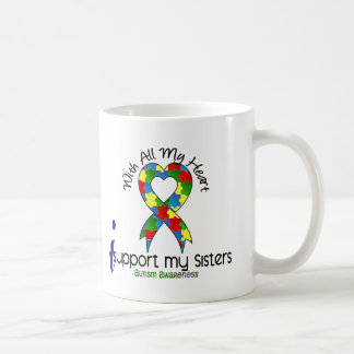 Autism I Support My Sisters Coffee Mugs